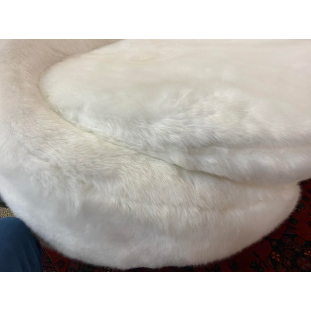 Contemporary Sweeping Curved Sofa in White Faux Fur For Sale - Image 9 of 10