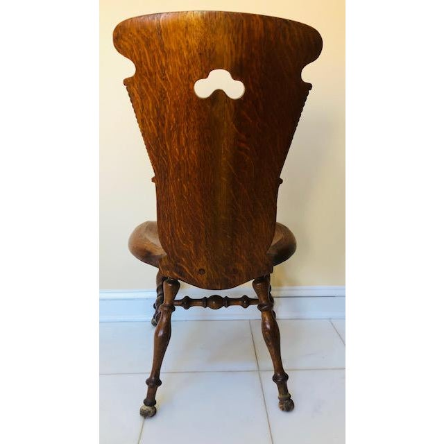 Early 20th Century Early 20th Century Antique Hand Carved Wood Hall Chair For Sale - Image 5 of 13