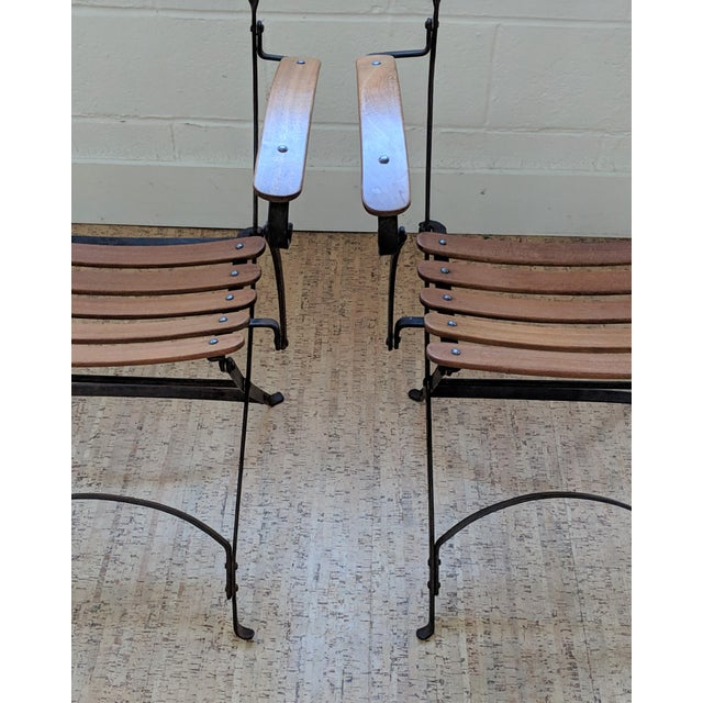 Metal French Country Antique Iron & Teak Garden Chairs – a Pair For Sale - Image 7 of 12