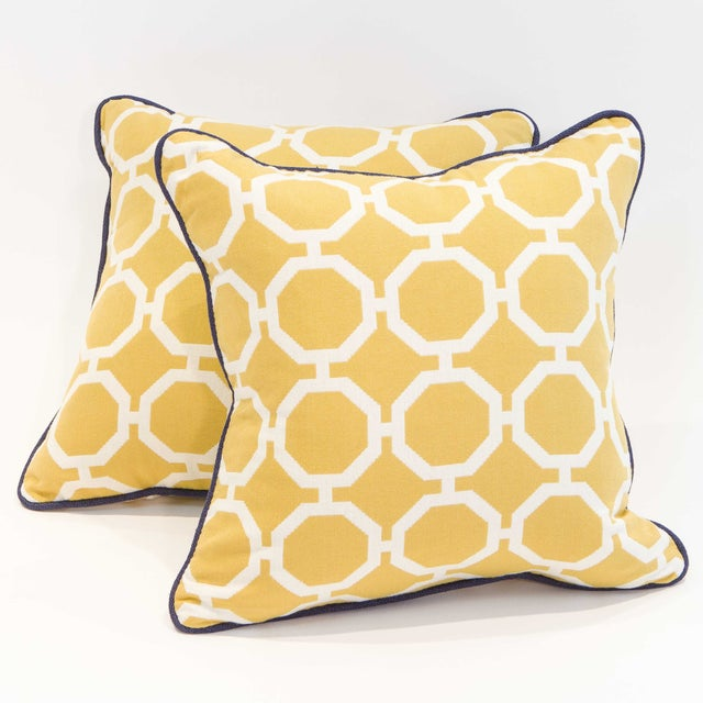 Yellow Geometric Pillows - A Pair - Image 3 of 6