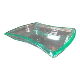 1960's Vintage Fontana Arte Aquamarine Glass Bowl For Sale