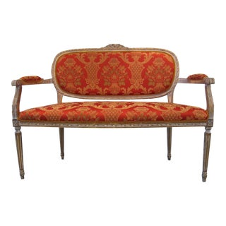 Scalamandre Upholstered Louis XVI Settee For Sale