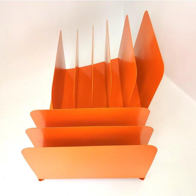 Orange 1960s Tanker Desk Record Album Office Organizer Magazine Rack Orange Mail Sorter For Sale - Image 8 of 10