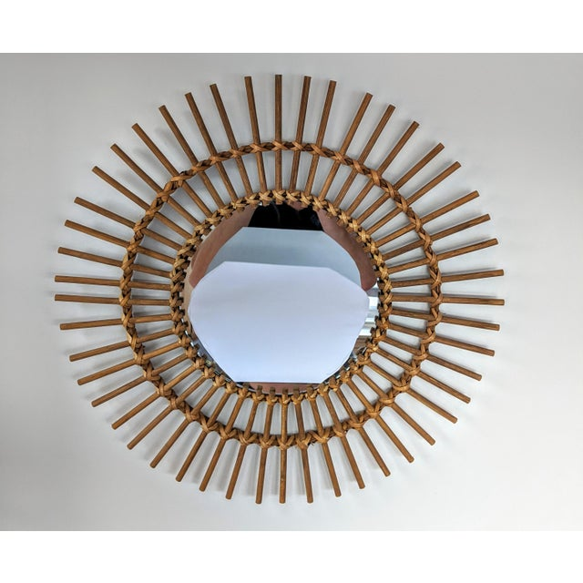 Boho Chic Rattan and Wooden Starburst Mirror For Sale - Image 9 of 9