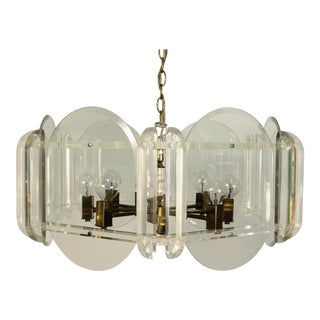 Vintage Lucite Hexagonal Brass Armed Chandelier For Sale