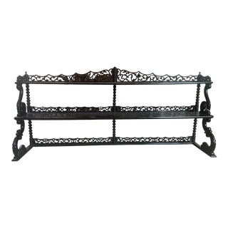 Asian Style Painted Black Carved Hanging Shelf For Sale