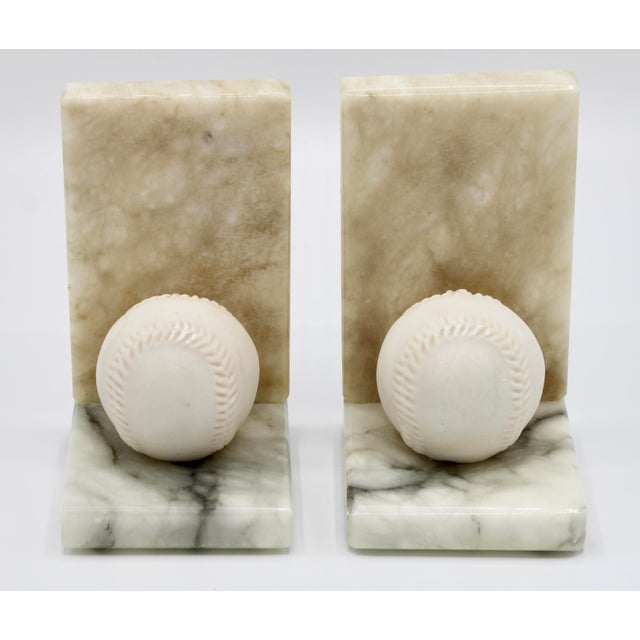 Mid Century Italian Alabaster Baseball Bookends For Sale In Tulsa - Image 6 of 10