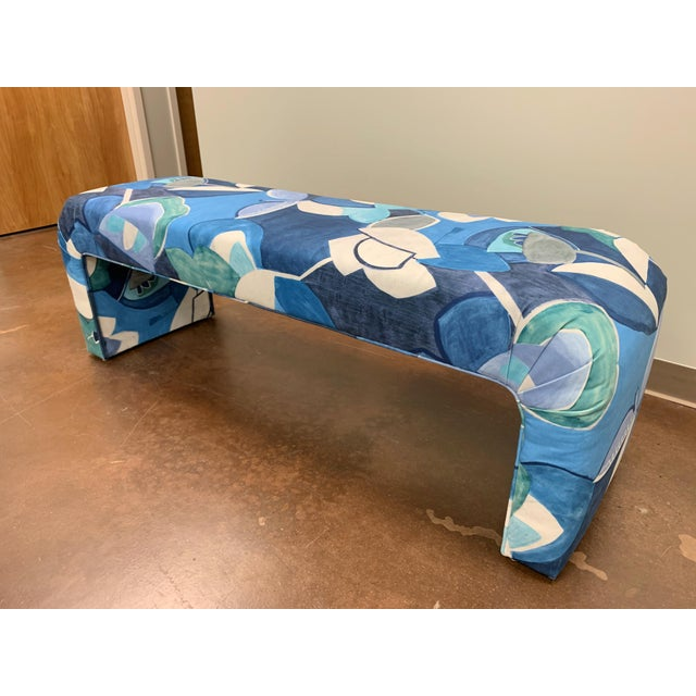 """Absolutely one of a kind 1970's vintage waterfall bench freshly recovered in Donghia velvet. The textile design is """"Boom..."""