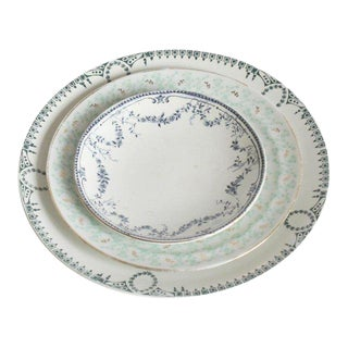 1930s Vintage Blue Floral China Plates - Set of 3 For Sale