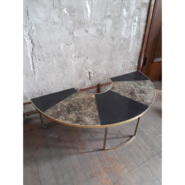Vintage Mid Century Black and Brass Demilune Coffee Table For Sale In San Francisco - Image 6 of 6