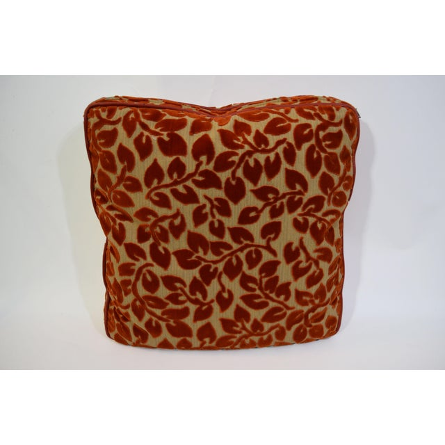 These custom pillows feature Designtex fabrics in shades of orange and gold: two are Attush and two are Allure. The Piping...
