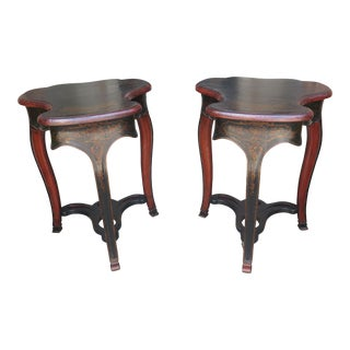 Vintage Michael Taylor Chinoiserie Decorated High End Tables- A Pair For Sale