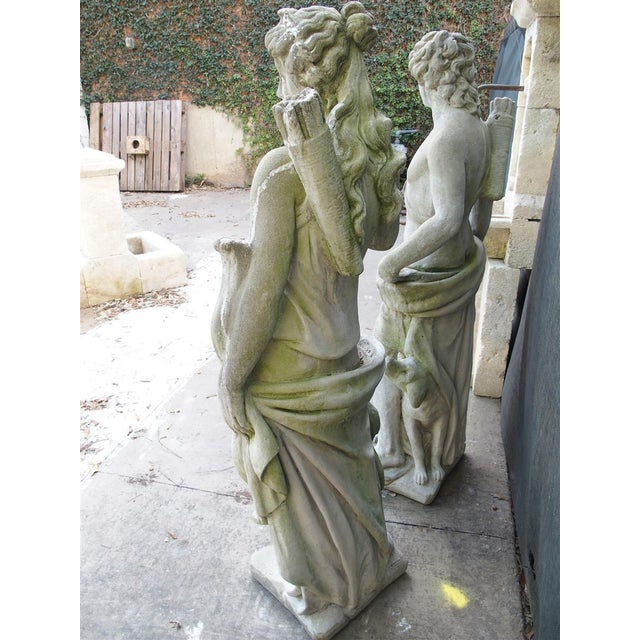 Pair of 20th Century French Statues Representing Apollo and Diana For Sale - Image 9 of 13