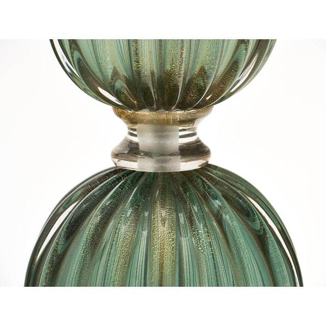 Metal Green Avventurina Murano Glass Lamps For Sale - Image 7 of 10