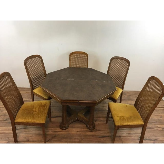 Mid-Century Modern Vintage Dining Table & Cane Back Chairs For Sale - Image 3 of 7