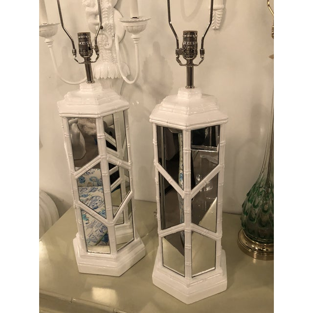 Silver Vintage Chinese Chippendale Hollywood Regency White Lacquered Chrome Mirror Faux Bamboo Table Lamps - A Pair For Sale - Image 8 of 13