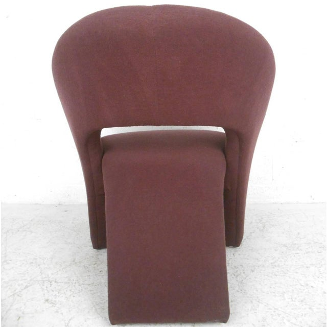 Red Contemporary Modern Sculptural Lounge Chair with Ottoman For Sale - Image 8 of 11