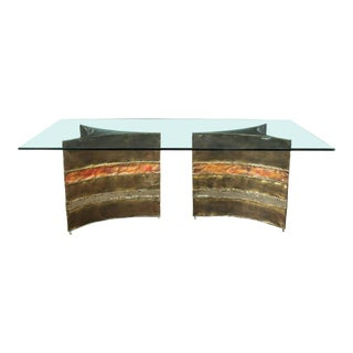 Signed Silas Seandel Midcentury Brutalist Copper, Aluminum & Brass Dining Table For Sale