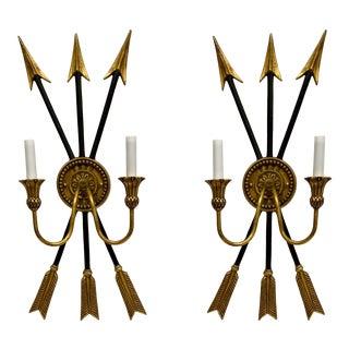 Vintage Neo-Classical Style Arrow Sconces - a Pair For Sale