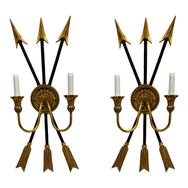 Vintage Neo-Classical Style Arrow Sconces - a Pair For Sale