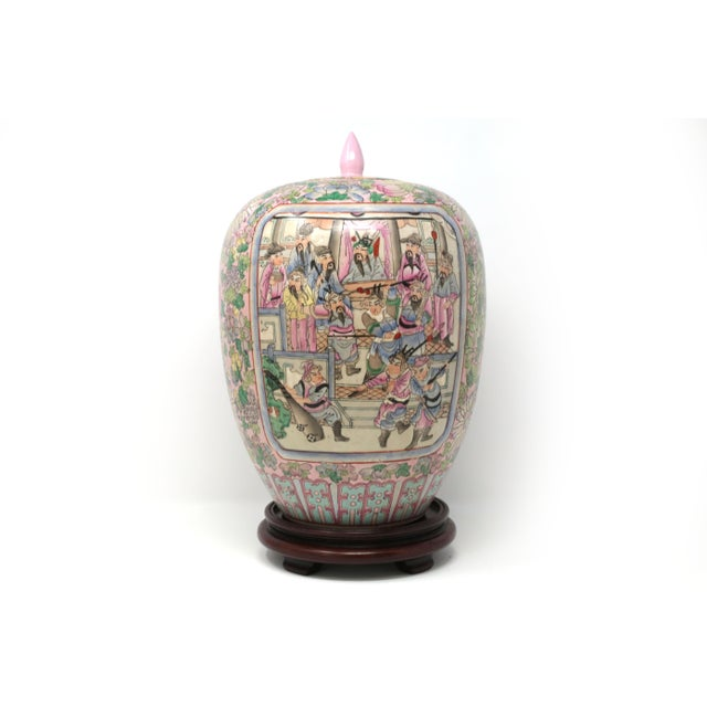 Green Vintage Hand-Painted Chinese Family Temple Jar For Sale - Image 8 of 12