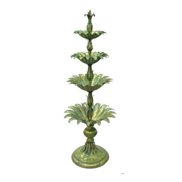 Vintage Mid-Century Italian Hollywood Regency Style Gold Tole Metal Palm Leaf Statue For Sale - Image 11 of 11