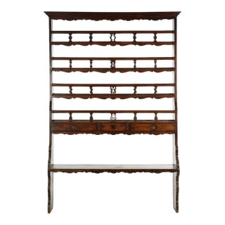 18th Century French Provincial Antique Carved Pine Bookcase Cupboard For Sale