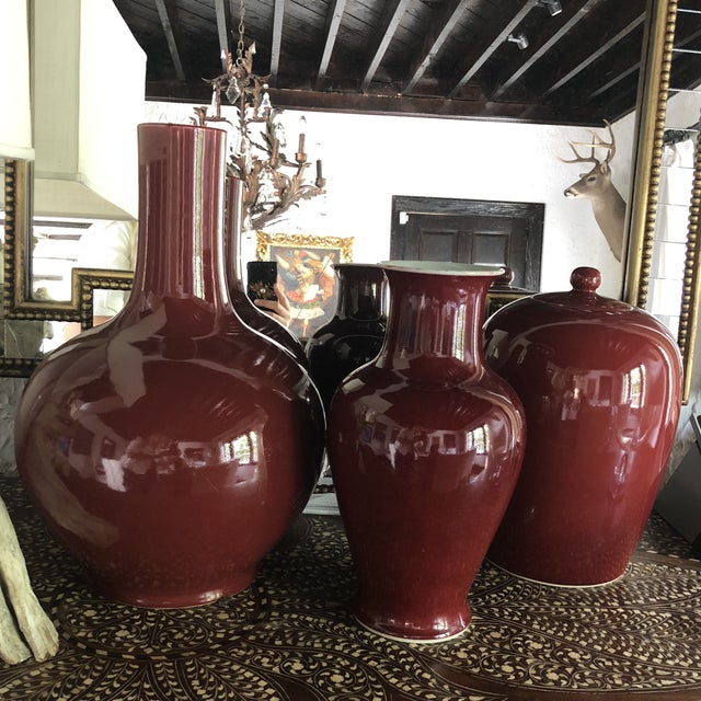 Red Oxblood Vases Collection, S/3 For Sale - Image 8 of 8