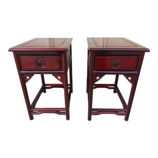 Chinoiserie Style Rosewood Side Tables -A Pair For Sale
