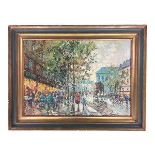 "Early 20th Century Antique ""Parisian Street Scene"" Original Oil on Canvas Signed Painting For Sale"