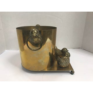 1970s Brass Ice Bucket Planter Wine Cooler With Birds Preview