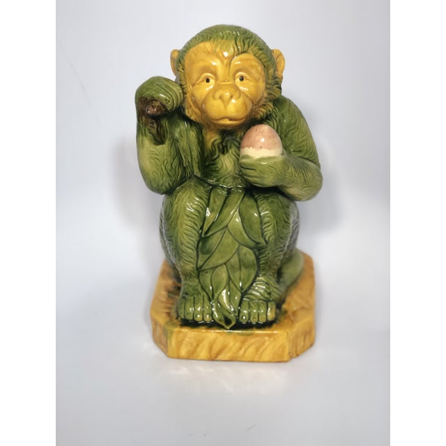 Green Glazed Ceramic Monkey Figure For Sale - Image 8 of 8