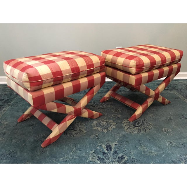 Hollywood Regency Upholstered X Benches - A Pair - Image 2 of 6