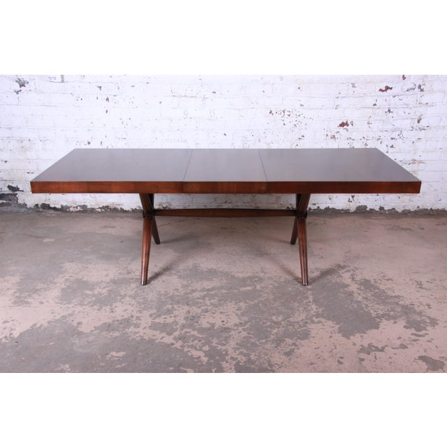 Contemporary Robsjohn Gibbings for Widdicomb X-Base Walnut Dining Table, Newly Restored For Sale - Image 3 of 11