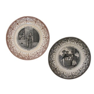 Antique French Transferware Plates - A Pair For Sale