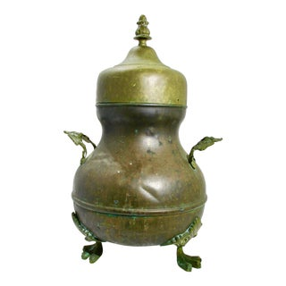 Turkish Brass Three Legged Boiler With Lid For Sale