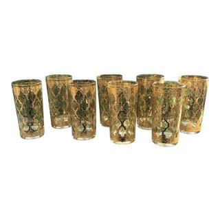 Culver Ltd. MCM Valencia 22k Gold Hi Ball Glasses Set of 8 For Sale