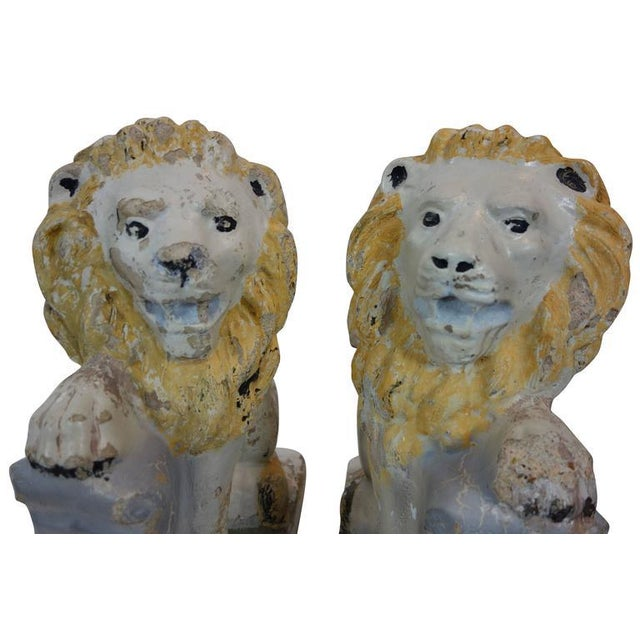 Early 20th Century Painted Concrete Garden Lion Statues - a Pair For Sale - Image 5 of 9