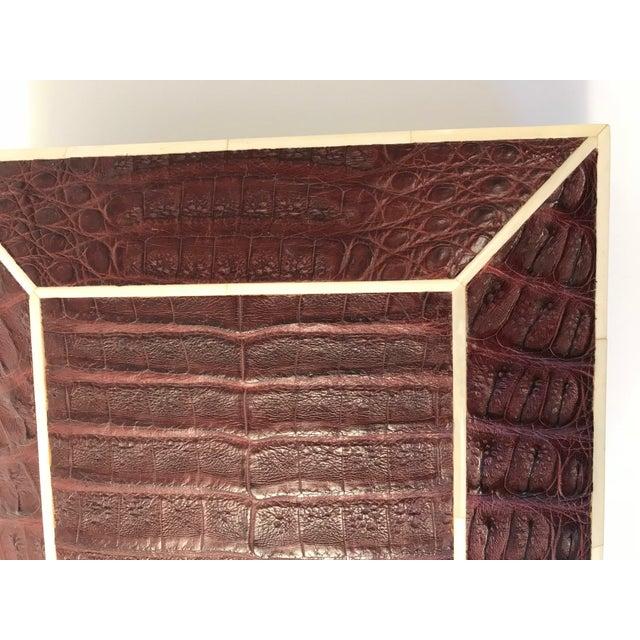 Bone Inlay Brown Crocodile Box For Sale - Image 9 of 10