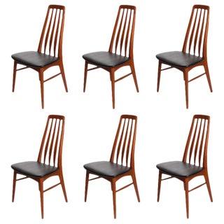 """1960s Vintage Teak """"Eva"""" Dining Chairs by Niels Koefoed- Set of 6 For Sale"""