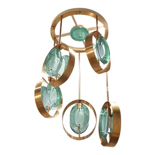 Mid century modern green glass/brass pendants 5-light chandelier/flush mount, attr to Fontana Arte