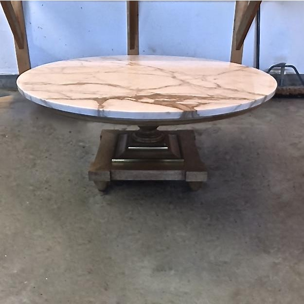 vintage 60 s large round marble topped coffee table with wood 60s coffee table