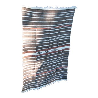 Vintage Handwoven Wool Serape or Throw For Sale