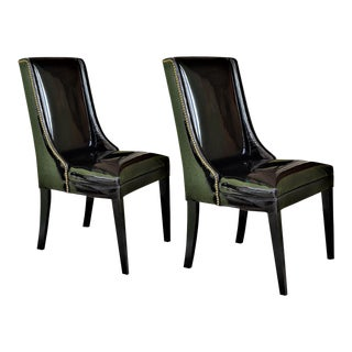 1960's Vintage Black Patent Leather Wingback Chairs With Brass Studs