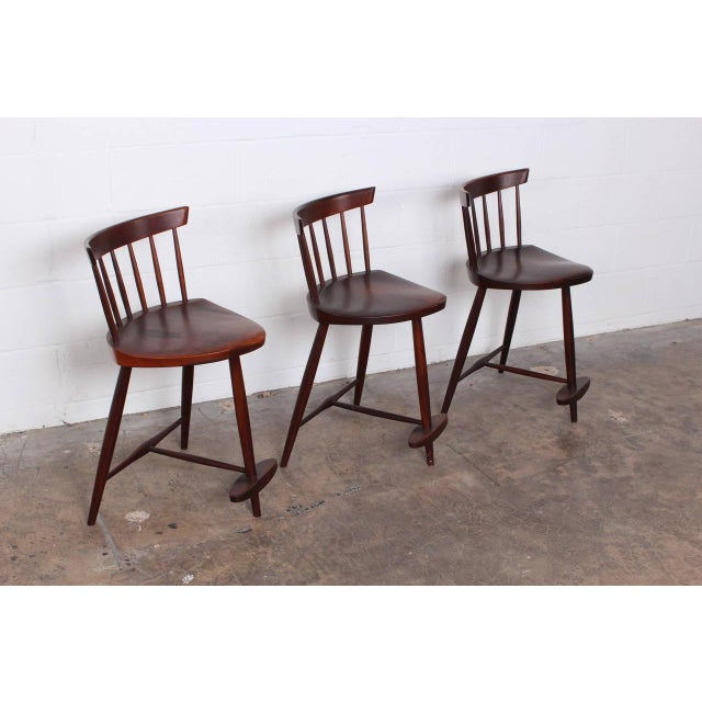 Set of Three Mira Barstools by George Nakashima For Sale In Dallas - Image 6 of 10