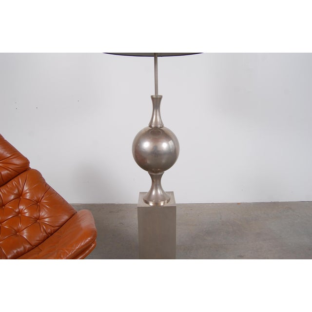 Mid 20th Century Philippe Barbier Nickel Plated Floor Lamp From Paris For Sale - Image 5 of 12