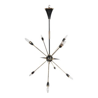 Mid-Century Italian Eight-Arm Sputnik Chandelier in Brass and Black Enamel