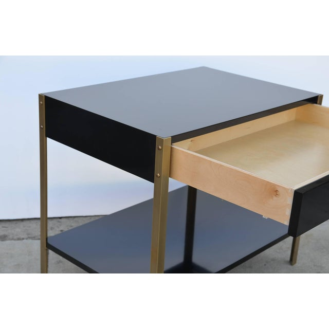 """Contemporary Design Frères """"Laque"""" Black Lacquer and Brass Nightstands - a Pair For Sale In Los Angeles - Image 6 of 9"""