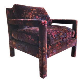 Milo Baughman Chair in Jack Lenor Larsen Velvet