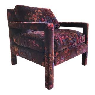Milo Baughman Jack Lenor Larsen Velvet Chair